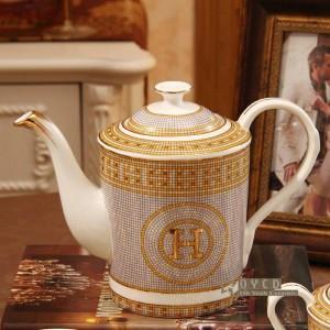 """Porzellan Kaffeeset Knochen """"H"""" Mark Mosaik Design Umriss in Gold 15er Europäischen Tee-Set Kaffeekanne Kaffeekanne Untertassen-Set"""