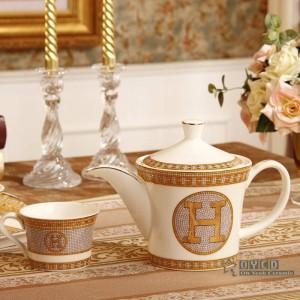 """Porzellan Kaffeeset Knochen """"H"""" Mark Mosaik Design Umriss in Gold 8er Ceramin Tee Set Kaffeekanne Kaffeekanne Tee Tablett"""