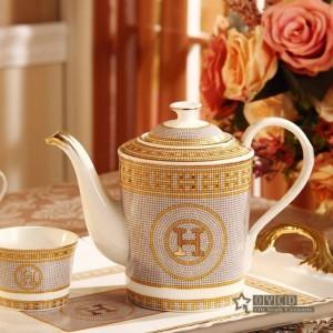 """Porzellan-Kaffee-Set Knochen """"H"""" -Markierung Mosaik-Design Umriss in Gold 8er Europäischen Tee-Set Kaffeekanne Kaffeekanne Tee-Tablett"""