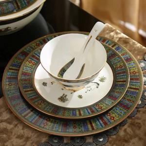 Porzellan Geschirr Set Knochengott Pferde Design Umriss in Gold 58pcs Geschirr Sets Geschirr Kaffee Sets Hochzeitsgeschenk