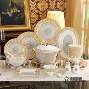Porzellan Geschirr Knochen Mosaik Design Umriss in Gold 58pcs Geschirr Sets Geschirr Kaffee Sets Geschenke
