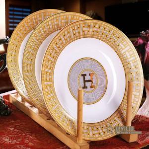 """Porzellan Geschirr Set Knochen """"H"""" -Markierung Mosaik Design Umriss in Gold 58pcs Geschirr Sets Abendessen Set Housewarminggeschenke"""