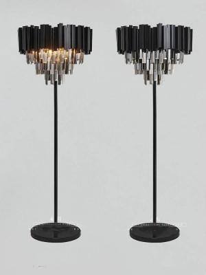Postmoderne schwarze Kristallstehlampen für Wohnzimmerhochzeit führten Schreibtischbodenlicht Lambader-Restaurantrauchkristallstehlampen