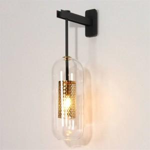 Post moderne Innenbeleuchtung Wandleuchte Gold / Schwarz Metall Glas kreative Wandleuchte Wandleuchte für Schlafzimmer Nacht Gang Korridortreppe