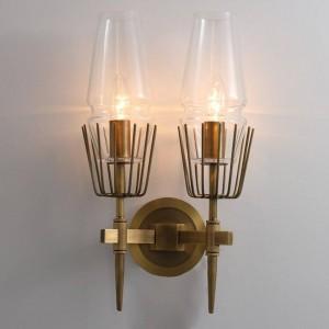 Postmoderne industrielle Wandlampe 1/2 Köpfe Glas LED Wandleuchte Restaurant Treppen Gang Leuchte Schlafzimmer Nachttischlampe