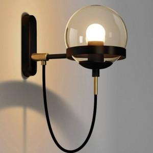 Postmoderne Nordic Wandleuchte Hotel Restaurant Vintage Wandleuchte Braunglas Kugel Lampenschirm Retro Industrieleuchte