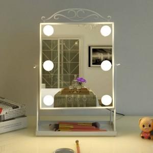 Prinzessin stil led kosmetikspiegel mit glühbirne hause desktop dressing schönheit füllen licht spiegel tischdekoration mx12281553