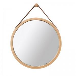 PU Leder runder Wandspiegel dekorativer Spiegel mit hängendem Bügel Badezimmer-Schminkspiegel einschließlich Haken Hauptdekor mx3071411