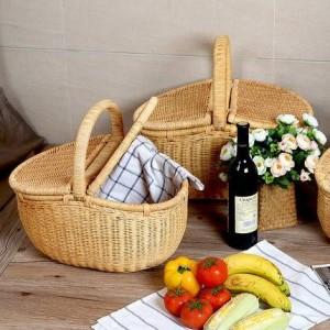 Rattan Einkaufskorb Obstkorb mit Deckel Picknickkorb Outdoor Ablagekorb