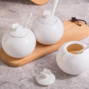 Relief Bambus Salzbehälter Zuckerglas mit Deckel Löffel Pfeffer Keramik Gewürzglas Geschirrset Gewürze & Pfefferstreuer
