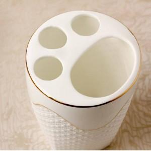 Relief Bad Sanitär Ware Fünf Papier Set Toilettenanzug Duschbad Suite Gargle Cup Keramik Zahnbürstenhalter Banheiro Gold