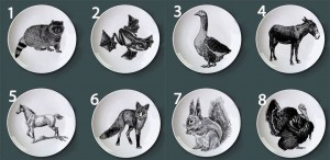 Retro Tier handgemalte Platte Kind Puzzle Dish Black Farm Animal Stack lustige dekorative runde Platte für Hotel / Bar / Home Supply