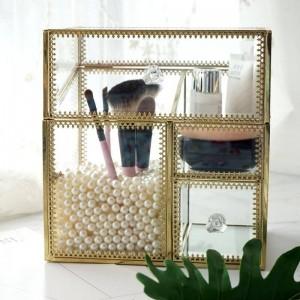 glas kosmetikbox geschenk rot lippen glasur make-up baumwolle vier in einem aufbewahrungsbox bronze kante staubdicht und grau
