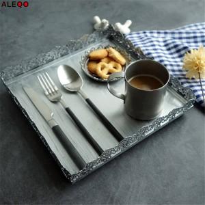 Retro Nordic Metall Bürotisch Ablageplatte Chic Elegante Luxus Silber Spitze Platz Schreibtisch Ablage Cupcake Organizer