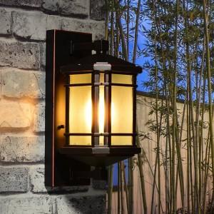Rustikale Aluminium-Außenwandleuchte Balkon Gehweg Glasschirm Wasserdichte Gartenbeleuchtung Villa antike Außenwandleuchte