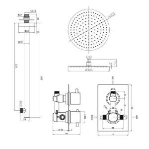 "Runde 12 ""Ultra Thin Mixer Duschkopf Chrom Thermostatventil Badezimmer Set Wandmontage"