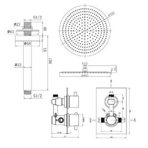 """Round 16 """"Deckenmischer Ultra Thin Thermostat Duschkopf Set Chrom Badezimmer Ventil Set"""