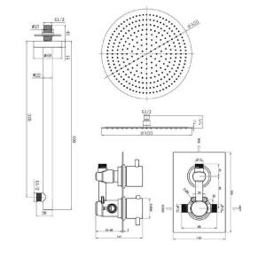 "Runde 16 ""Ultra Thin Mixer Thermostat Duschkopf Set Chrom Thermostat Bad Ventil Set"