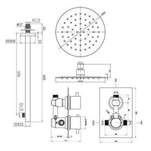 """Round 8 """"Wand-Thermostat-Brausebatterie mit ultradünnem Kopf und verchromtem Badarmatur-Duschset"""