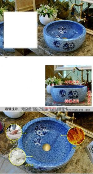 Rundes Waschbecken aus Keramik für Badezimmer Aufsatzwaschbecken für Badezimmer Waschbecken aus blauem Porzellan Waschbecken Schmetterling