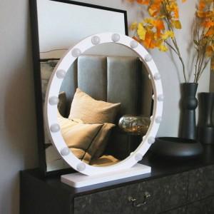 Runden großen Kosmetikspiegel mit Licht führte professionelle Desktop Kosmetikspiegel HD Live füllen Licht Prinzessin Stil Spiegel mx12291632