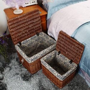 Rural Stil handgemachte Rattan Lagerung Tank Korb Aufbewahrungsbox Wäschekorb Lagerung Trümmer Bücher Spielzeug Aufbewahrungskorb abgedeckt Dosen