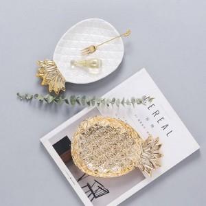 Skandinavische Keramik Bürotisch Aufbewahrungsteller Vogue Chic Elegance Gold Ananas Form Büro Schreibtisch Aufbewahrung Veranstalter Dekor