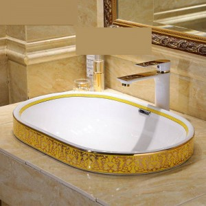 Semi Embedded Europa Vintage Style Art Waschbecken Keramik Aufsatzwaschbecken Waschbecken Waschbecken Schüssel oval