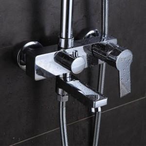Duscharmatur Messing Chrom Wandmontage Badewanne Wasserhahn Regen Duschkopf Platz Handheld Slid Bar Bad Mischbatterie Set 877002L