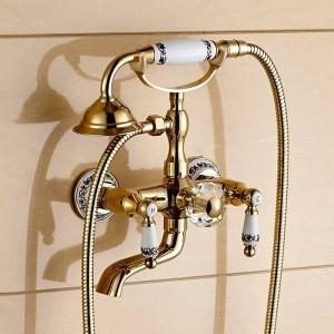 Duscharmatur Messing Poliert Goldene Badewanne Armaturen Hand Regen Duschkopf Wasserhahn Luxus Keramik Telefon Wand Bad Wasserhahn LAD-18025