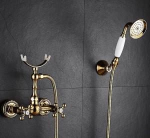 Duscharmatur Messing Poliert Goldene Badewanne Armaturen Hand Regen Duschkopf Wasserhahn Luxus Keramik Telefon Wand Bad Wasserhahn XT365