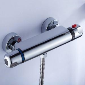 Duscharmatur Chrom Silber Wandmontage Thermostat Badewanne Wasserhahn Runde Regen Handbrause Bad Mischbatterien Set LAD-18046