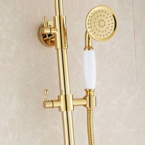 Duscharmatur Luxus Gold Messing Badewanne Wasserhahn Runde Regendusche Handheld Bar Wandhalterung Bad Mischbatterie Set HJ3007K