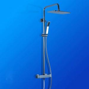Duscharmaturen Messing Chrom Wandhalterung Bad Regenthermostat Duschkopf Platz Handheld Gleitschiene Bad Mischbatterie JM-758L