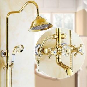 Duscharmaturen Luxus Messing Regenbrause Set Dural Griff Wandhalterung Gold Bad Wasserhahn Mit Gleitschiene Badewanne Wasserhahn LAD-18049