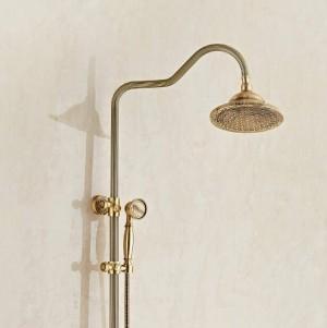 Duscharmaturen Luxus Kupfer Badezimmer Regendusche Wasserhahn Set Mischbatterie Mit Handsprüher Wandmontage Bad Duschkopf XT396