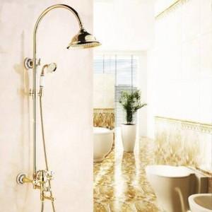 Duscharmaturen Luxus Gold Messing Bad Duscharmatur Set Regenkopf Einzigen Keramikgriff Wannenmischer Duscharmatur SE-1688K