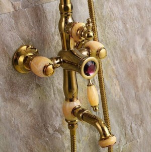 """Duscharmaturen New Marble Golden Bath Duschset Messing Wandmontage 8 """"Regendusche & Handbrause Wasserhahn Set für Bad XT351"""