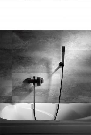 Duschset schwarz kupfer Vierkantrohr Einhandbad Duscharmatur Badewanne warmes und kaltes Wasser Bad XT346