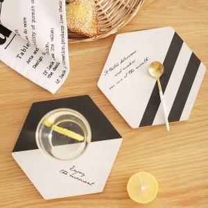 Einfache Schwarz Weiß Holz Untersetzer Kaffeetasse Matte Tee Pad Dining Fashion Weiche Holz Tischsets Dekoration Zubehör 1 stücke