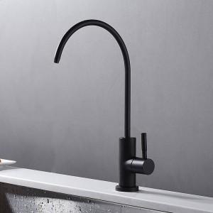 Single Cold Faucet Schwarz 360 Swivel Kitchen Sink Swivel Tap Messing Waschbecken Wasserhahn