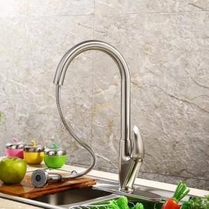 Einhand-Küchenarmatur Ausziehbare Küchenarmatur Einloch-Wasserhahn Kalt- und Warmwassermischer torneira cozinha LAD-58