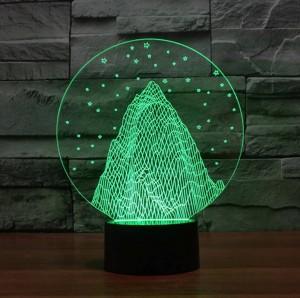 Schneegebirgsform 3D Nachtlicht, buntes geführtes USB-Tischlampenfeiertags-Dekostimmungslicht des Acryls 3D für Weihnachtsgeschenk der Kinder