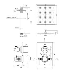 """Square 12 """"Deckenmischer Dusche Ultra Thin Head Thermostatventil Set Chrom Badezimmer"""