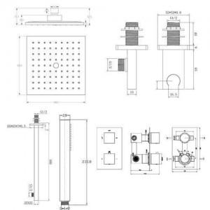 """Square 8 """"Mixer Shower Head Unterputz-Thermostat-Umsteller SG2003"""