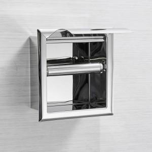 Edelstahl304 Toilettenpapierhalter Chrom Wandmontage Verdeckte Badezimmerrolle Papier Box Porta Papel Higienico LAD-18030