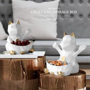 Statue en harz für hochzeitsdekoration wand aufbewahrungsbox für süßigkeiten nut geometrische glückliche katze figur dekorative home wall decor