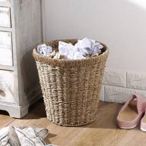 Stroh Rundmüll Mülleimer Blumentopf-Set Abfalleimer Praktischer Papierkorb
