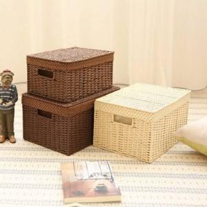 Surabilus Strohgeflecht Lagerung kleines Schlafzimmer Desktop Aufbewahrungsbox Finishing Box Aufbewahrungsbox Buch Box abgedeckt