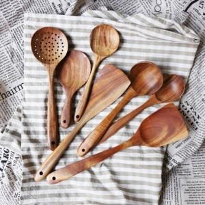 Thailand teak naturholz handwerk geschirr löffel schöpflöffel lange reissuppe skimmer kochlöffel schaufel handgemachte küche werkzeug set